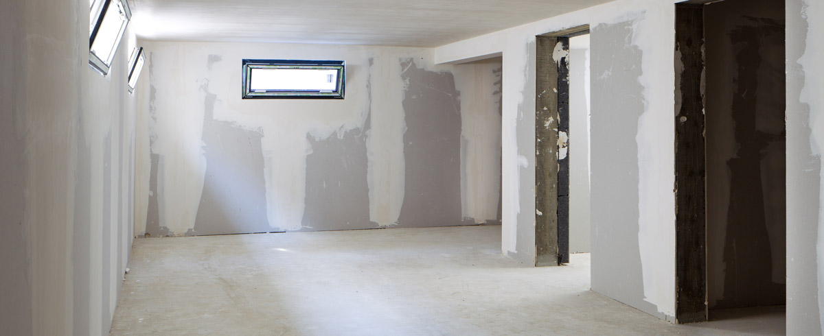 basement drywall and floor repair