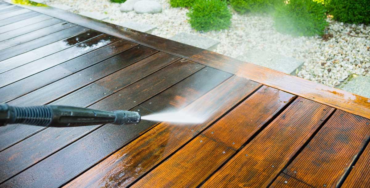 power washing a deck